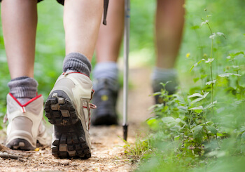 group of girls hiking shoes